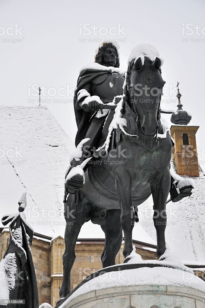 Statue of King Mathias stock photo