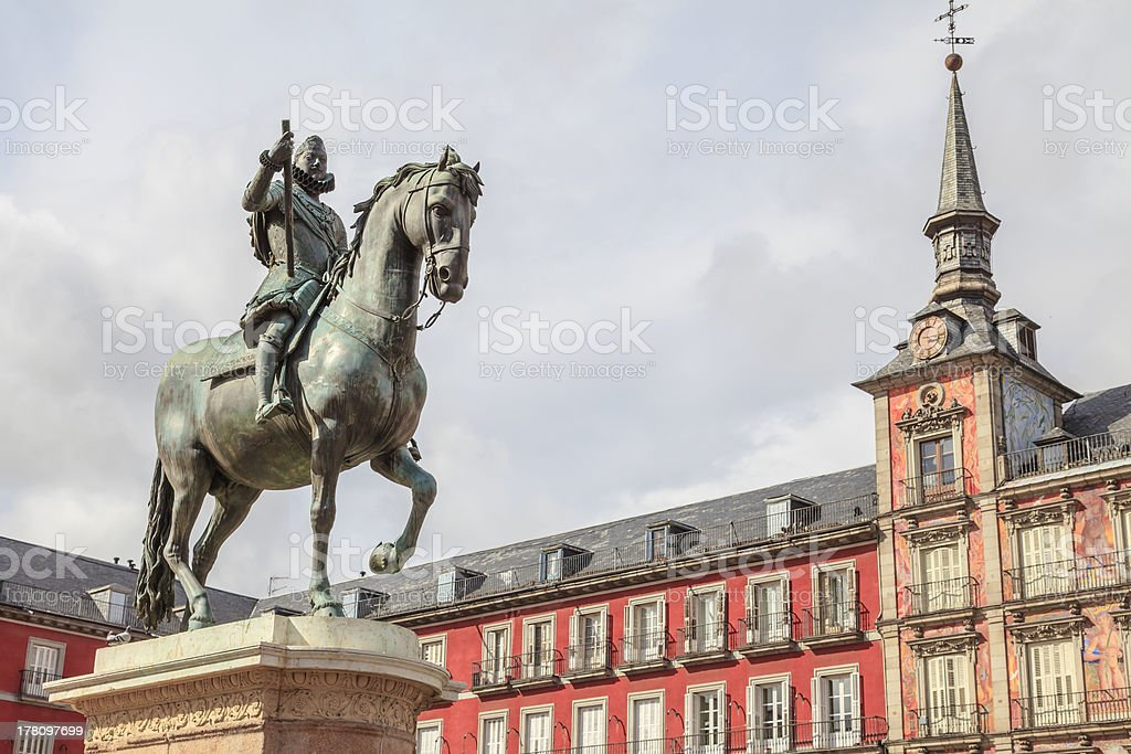 statue of King Philip III in Plaza Mayor stock photo