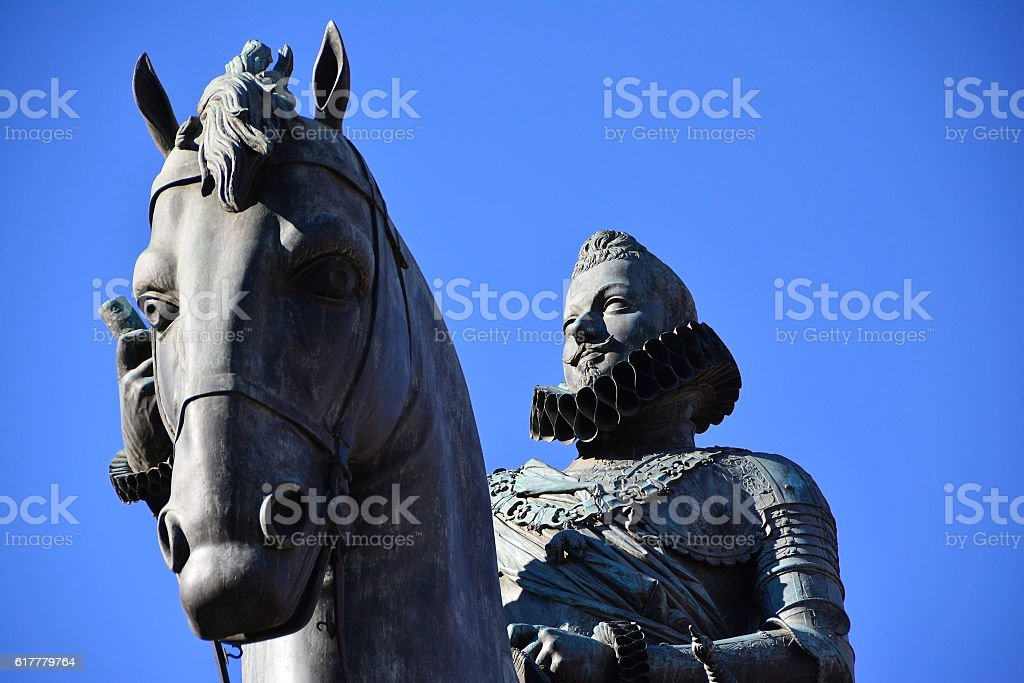 Statue of king Philip III on the horse stock photo