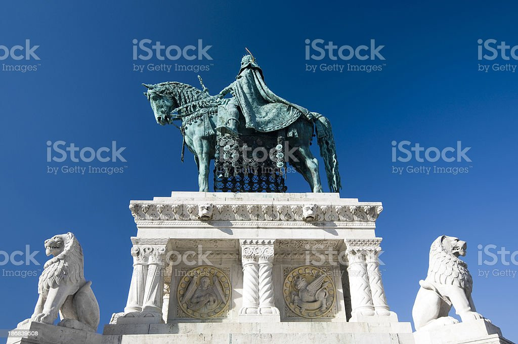 Statue of king St. Stephan on horseback, Budapest, Hungary royalty-free stock photo