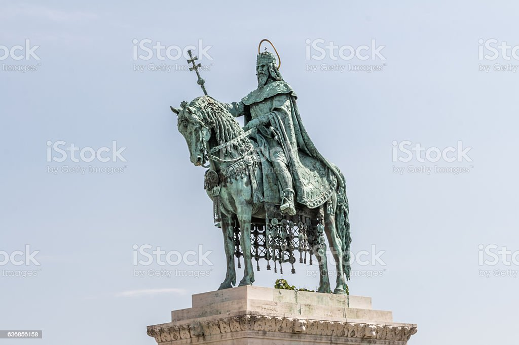 Statue of King St. Stephen  in Budapest stock photo