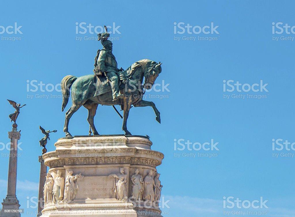 Estátua do rei Vittorio Emanuele, em Roma foto royalty-free