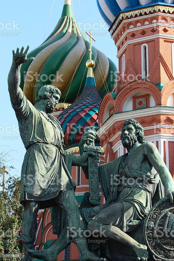 Statue of Kuzma Minin and Dmitry Pozharsky (Moscow, Russia) stock photo