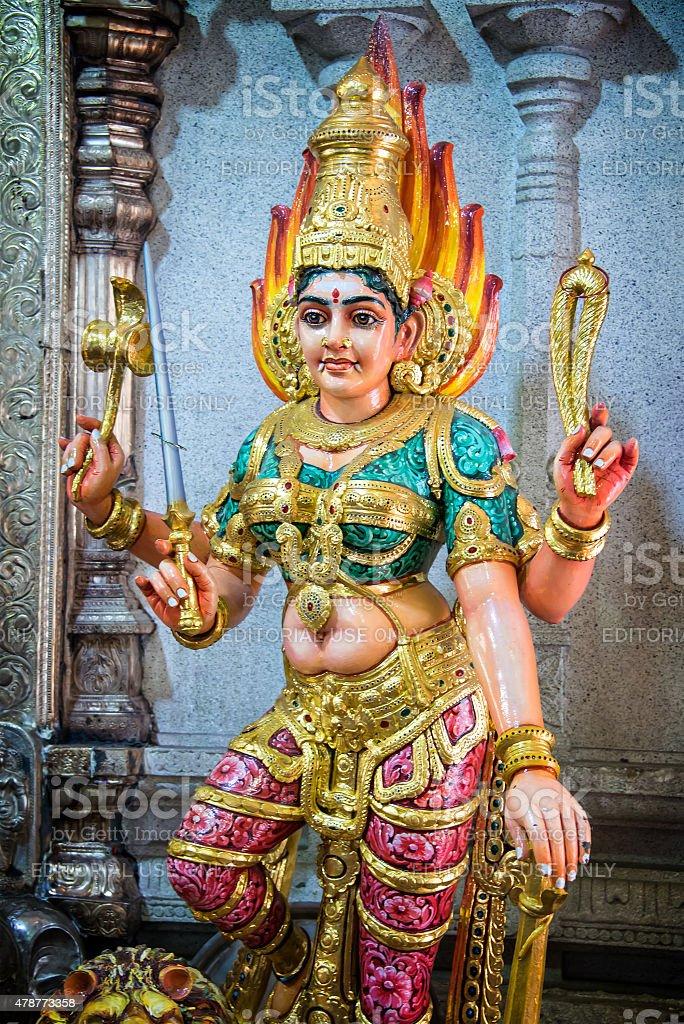 Statue of Lakshmi in Sri Veeramakaliamman Temple stock photo