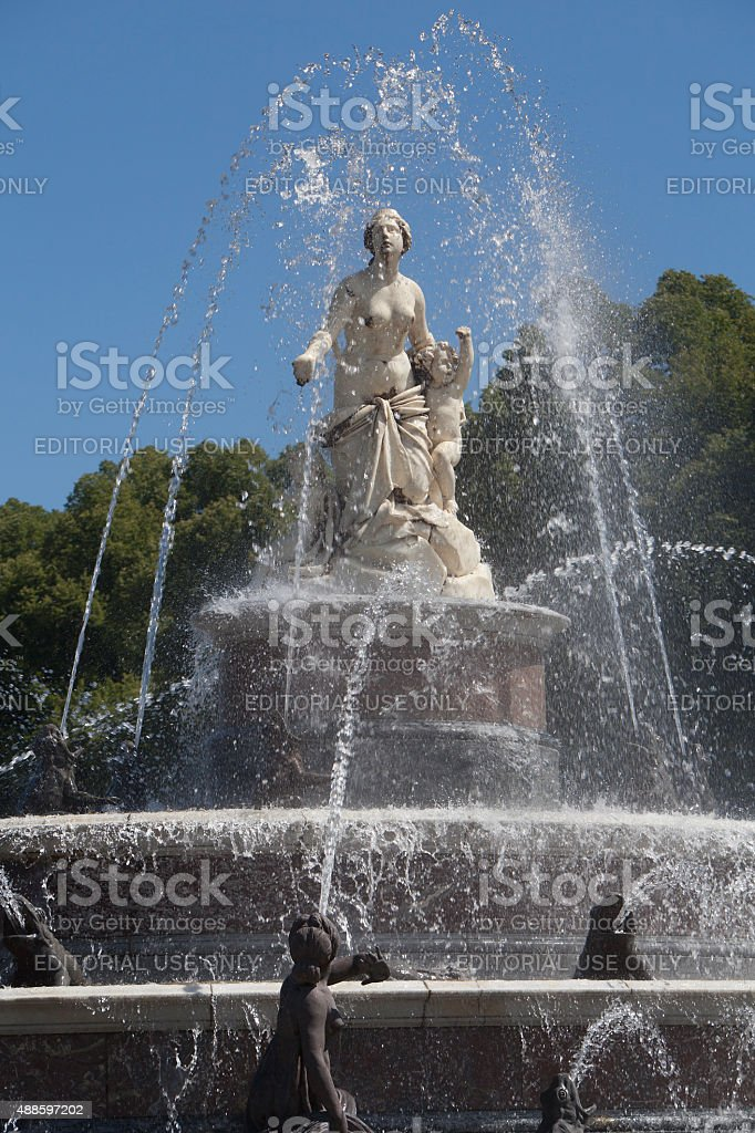 Statue of Latona fountain at Herrenchiemsee, Bavaria stock photo
