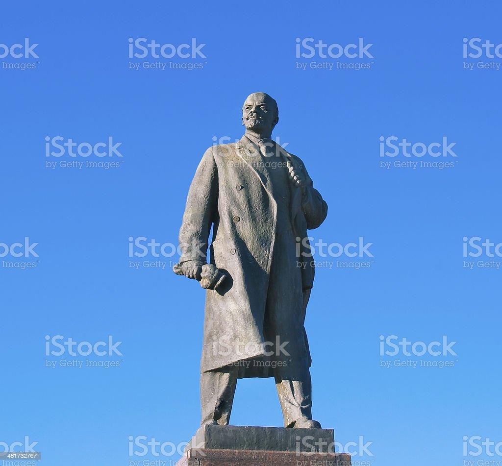 Statue of Lenin in Volgograd over big blue sky stock photo
