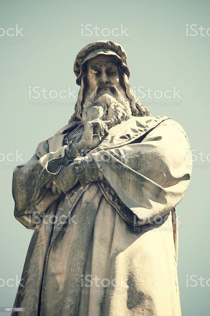 Statue of Leonardo Da Vinci in Milan royalty-free stock photo