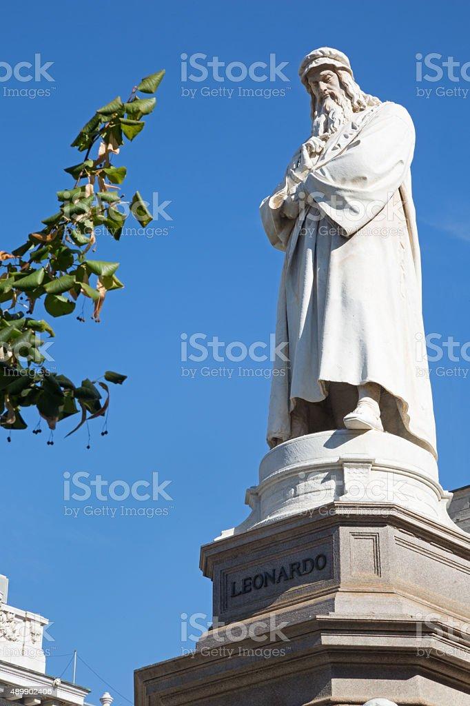 Statue of Leonardo da Vinci in Milan stock photo