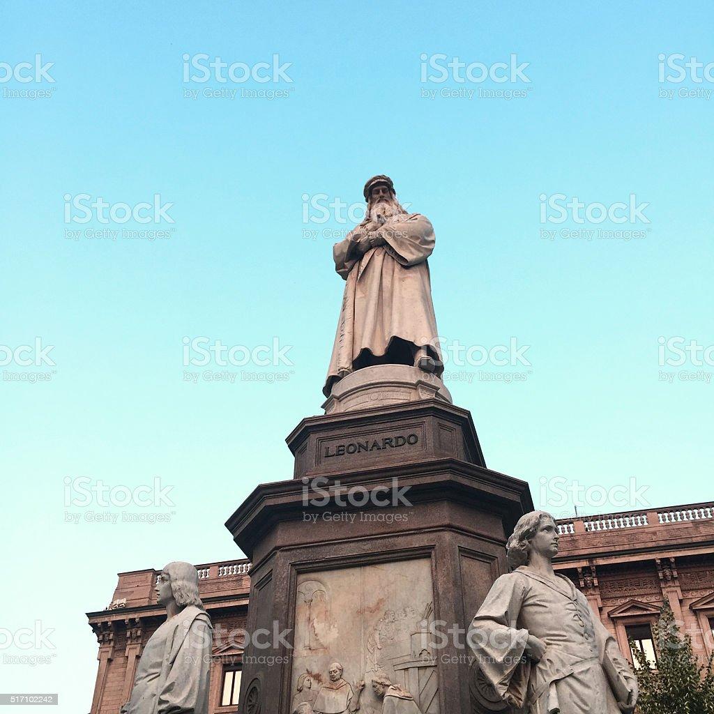 Statue of Leonardo da Vinci in Piazza della Scala, Milan stock photo