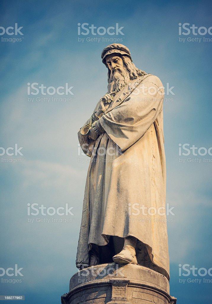 Statue of Leonardo da vinci stock photo
