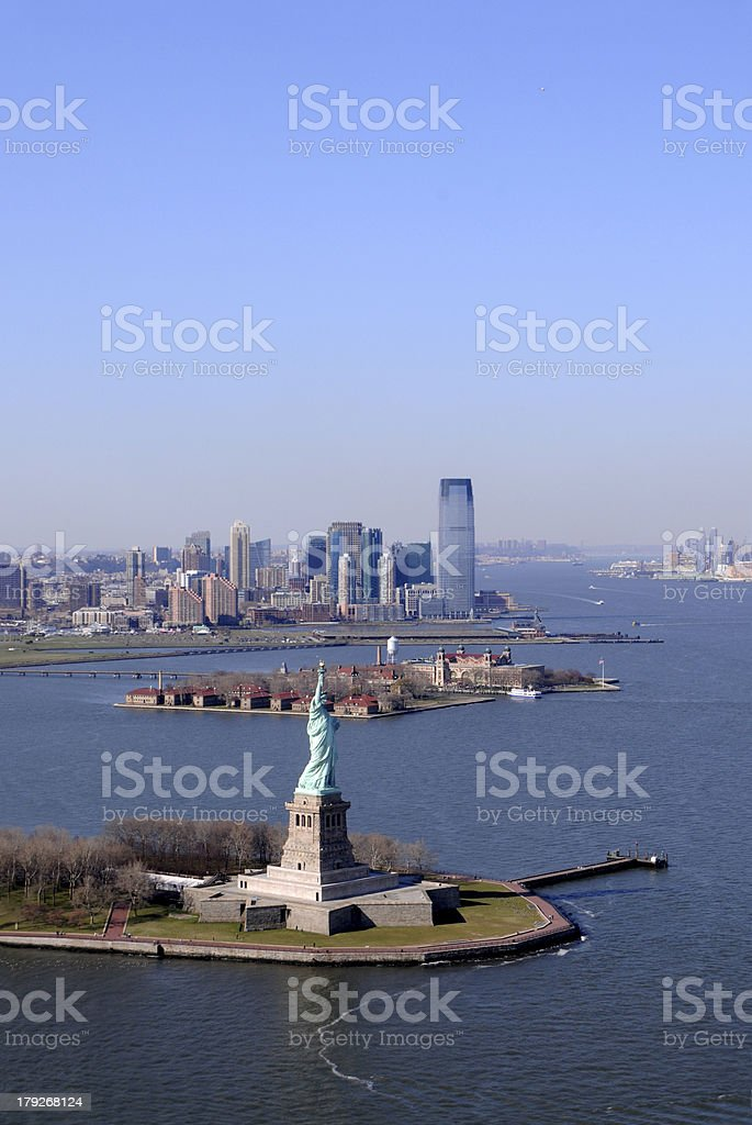 Statue of Liberty aerial stock photo