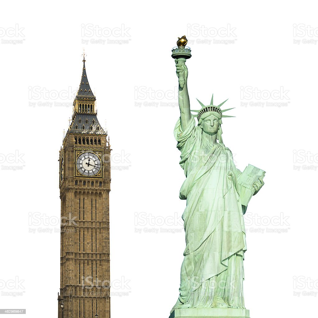 Statue of Liberty and Big Ben on white background stock photo