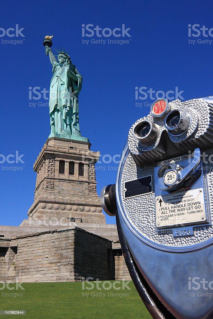 Statue of Liberty and binoculars royalty-free stock photo
