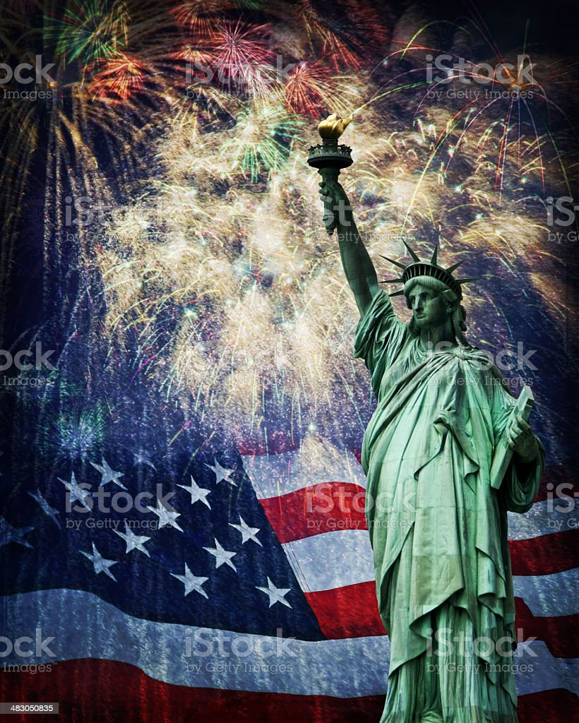 Statue of Liberty and Fireworks stock photo