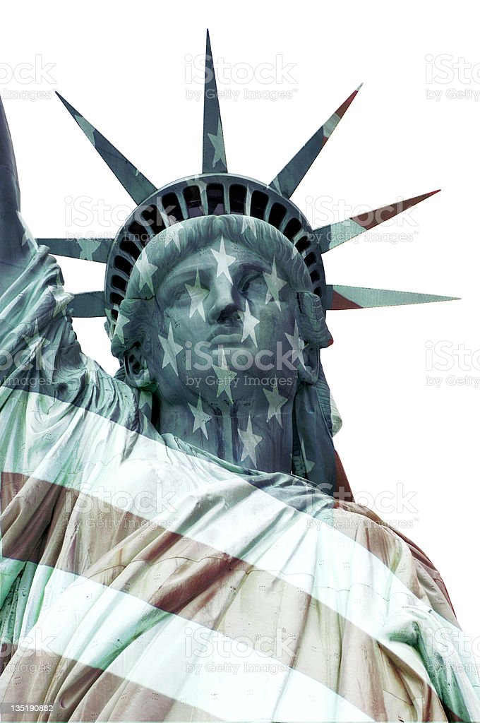 Statue of Liberty and Flag stock photo