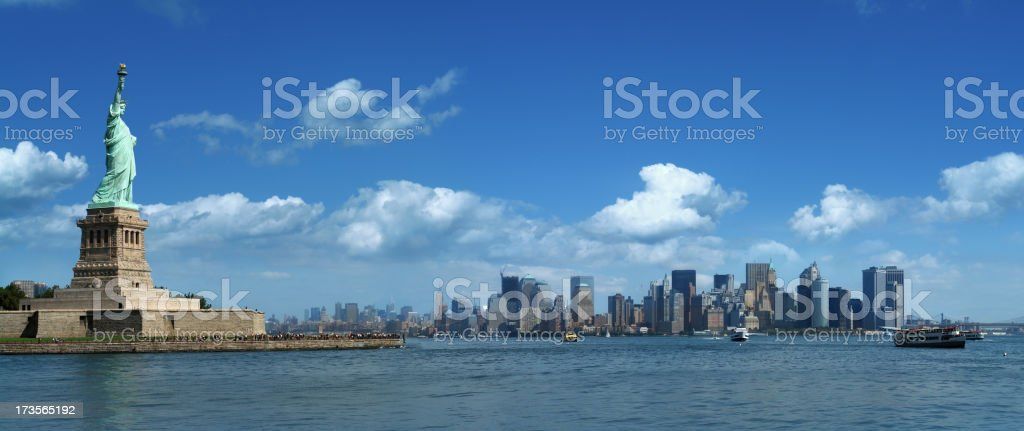 Statue of Liberty and Lower Manhattan royalty-free stock photo