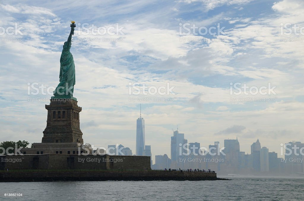 Statue of Liberty and Manhattan, New York City stock photo