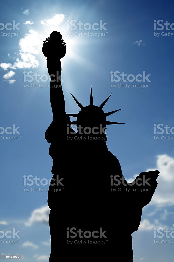 Statue of Liberty and sunbeam royalty-free stock photo
