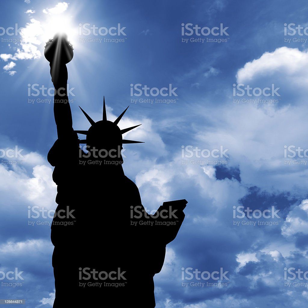 statue of liberty and  sunshine royalty-free stock photo