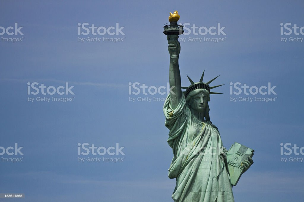Statue of Liberty and the New York City Skyline stock photo