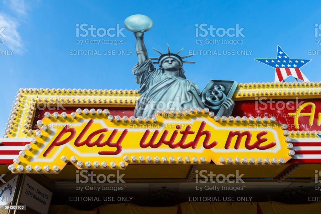 Statue of Liberty at a joyride at a folk festival stock photo