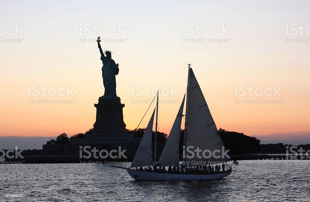 Statue of Liberty at Sunset stock photo