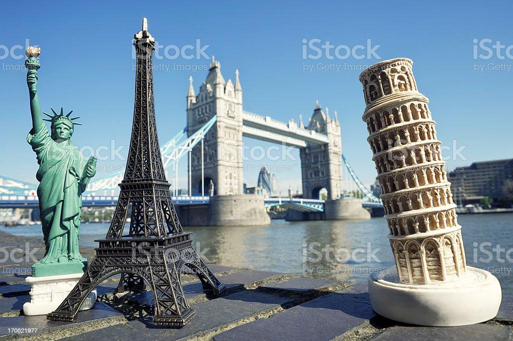 Statue of Liberty Eiffel Tower Leaning Pisa and London Bridge stock photo
