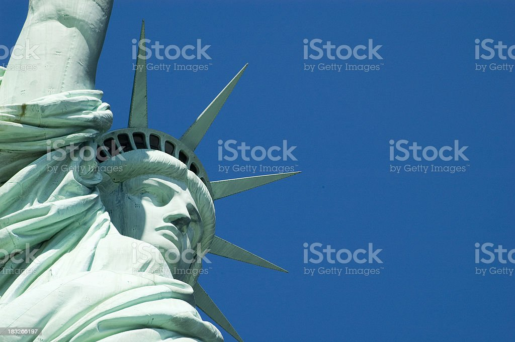 Statue of Liberty - Face and crown closeup stock photo