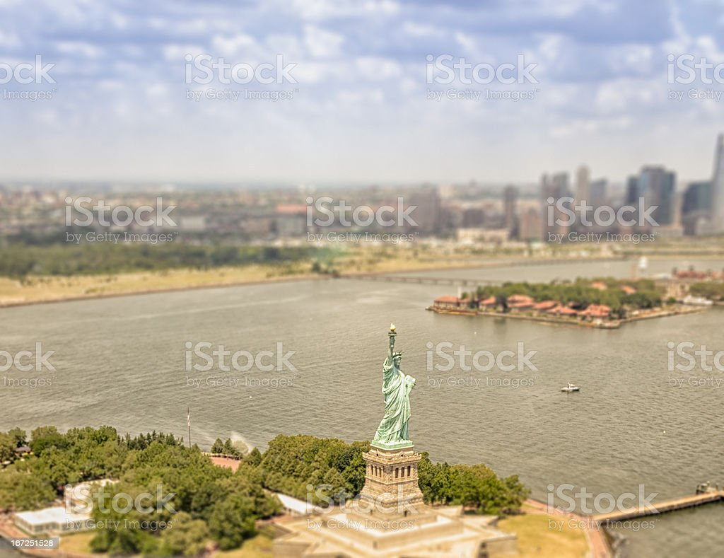 Statue of Liberty from an Helicopter view royalty-free stock photo