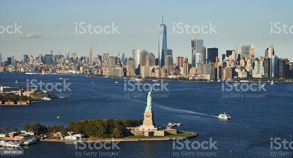 Statue of Liberty in New York City, Aerial view stock photo
