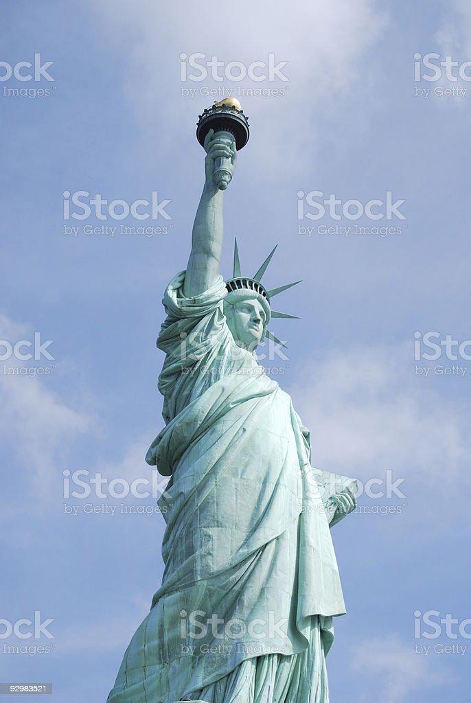 Statue of liberty  in New York Harbor stock photo