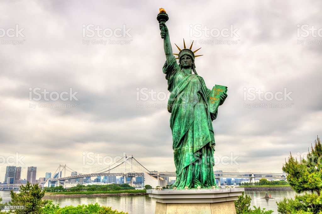 Statue of liberty in Odaiba Park, Tokyo stock photo