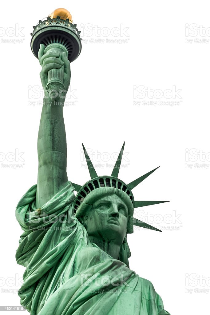 Statue of Liberty isolated on a white background stock photo