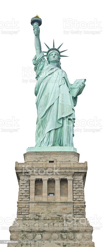 Statue of Liberty isolated on white royalty-free stock photo