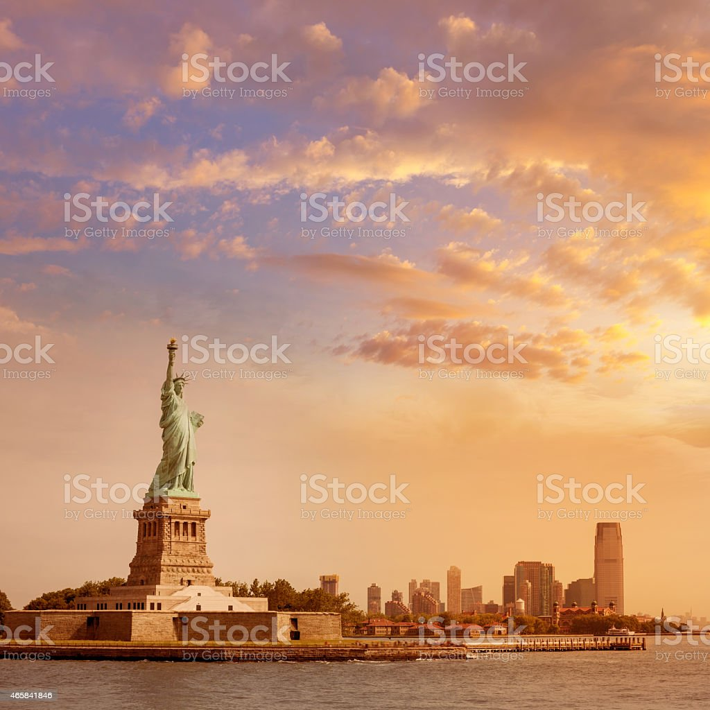 Statue of Liberty New York and Manhattan USA stock photo