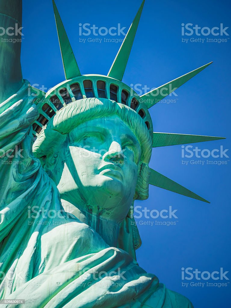 Statue of Liberty on a sunny day stock photo