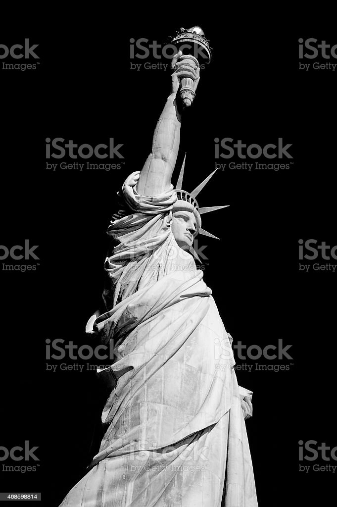 Statue of liberty on black background stock photo