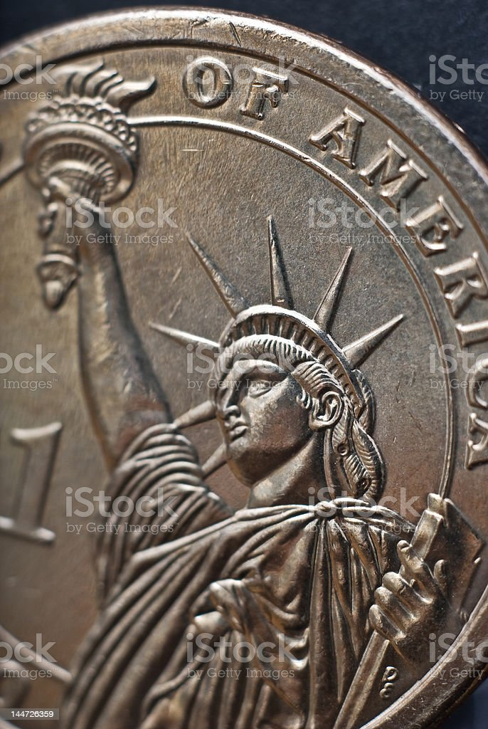 Statue of Liberty on Dollar Coin royalty-free stock photo