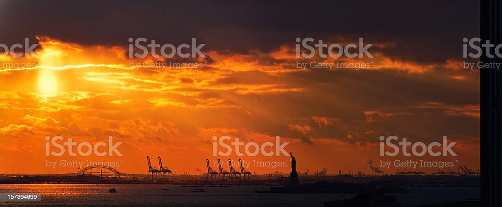 Statue of Liberty on sunset: Large Panorama stock photo