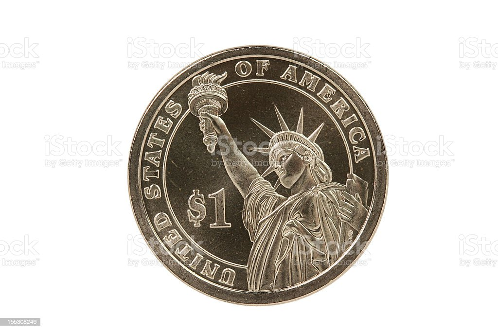 Statue of Liberty reverse, Presidential coin with clipping path royalty-free stock photo