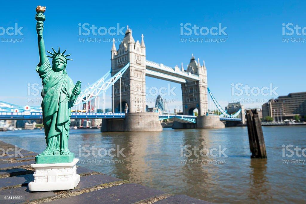 Statue of Liberty Souvenir Visiting Tower Bridge London stock photo
