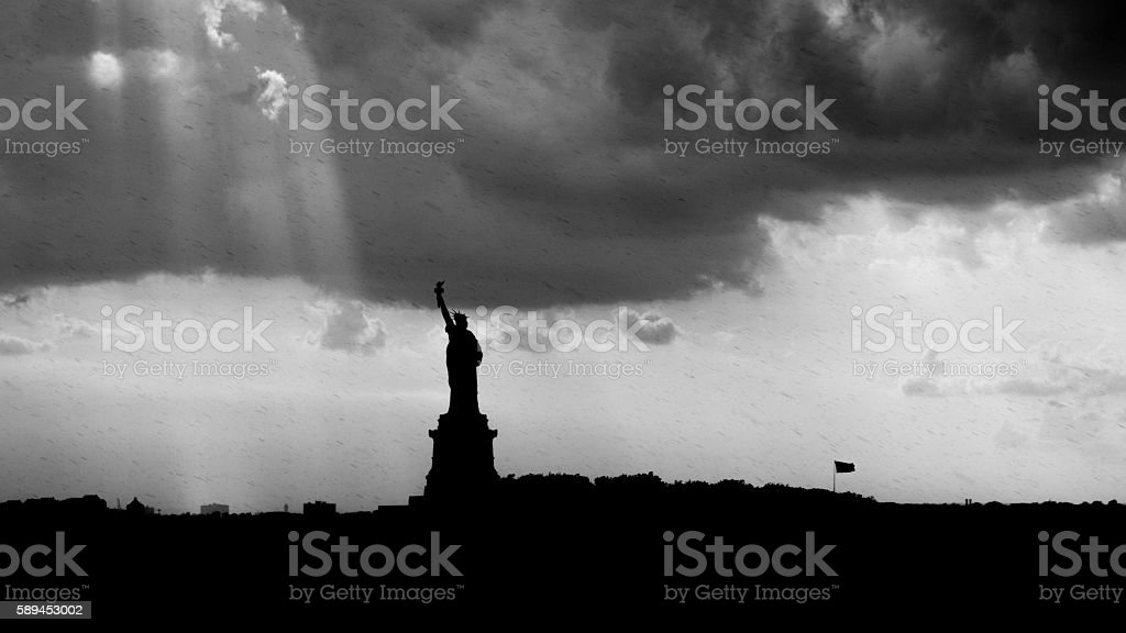 Statue of Liberty Stormy Evening stock photo