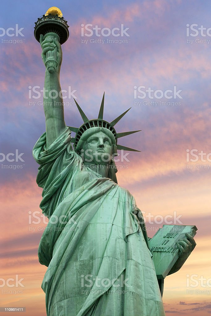 Statue of Liberty under a vivid sky royalty-free stock photo