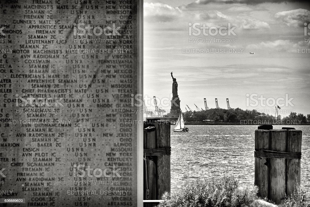 Statue of Liberty viewed from Battery Park, Lower Manhattan, NYC. stock photo