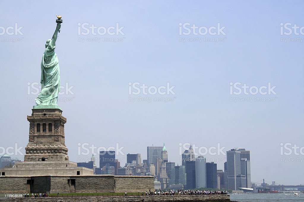 Statue of Liberty with copy space to right royalty-free stock photo