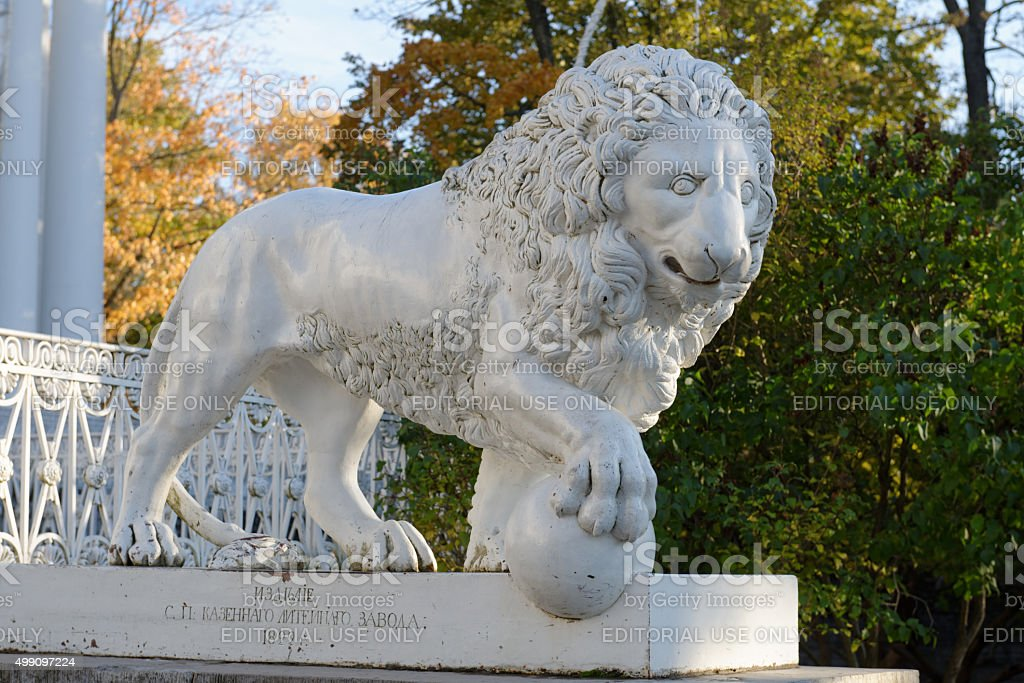 Statue of lion in front of Yelagin Palace, St. Petersburg stock photo
