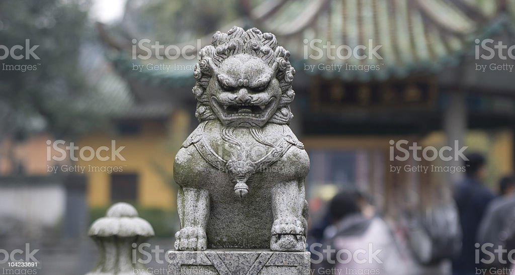 Statue of lion in Nanhua temple,Shao Guan, China royalty-free stock photo