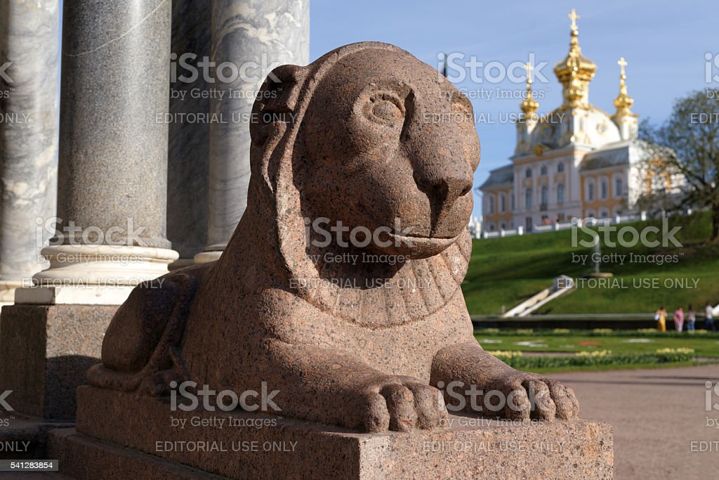 Statue of lion in Peterhof, St. Petersburg, Russia stock photo