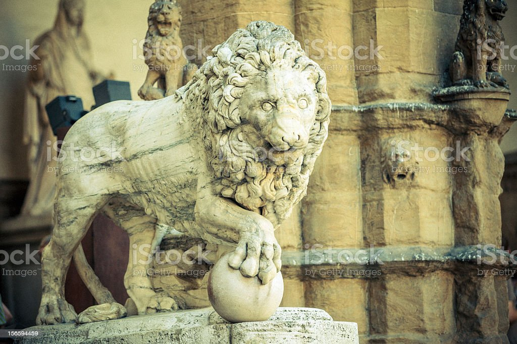 Statue of lion stock photo