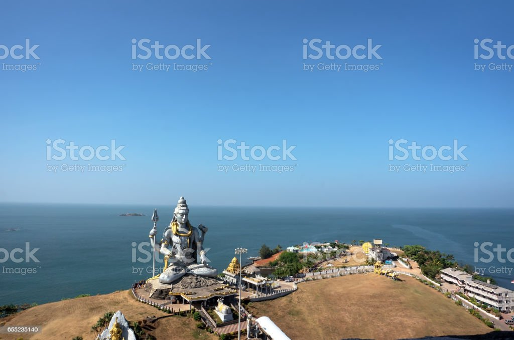 Statue of Lord Shiva in Murudeshwar Temple in Karnataka stock photo